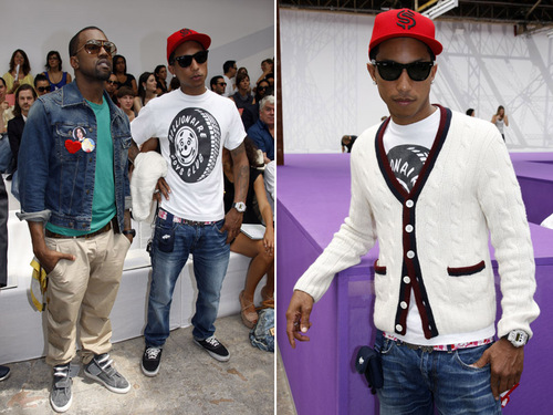 Rappers/Mega Producers Kanye West and Pharrell Williams were spotted front
