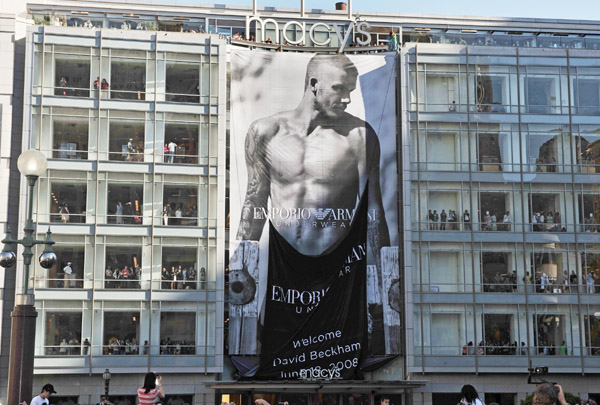 David Beckham on a billboard outside Macys